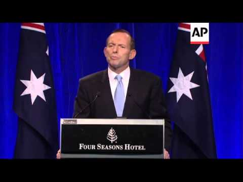 Tony Abbott gives victory speech after being swept to power
