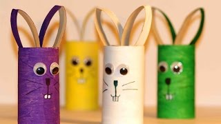 Простые поделки для детей. Зайцы из картона.