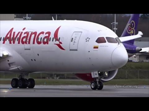 1st Avianca Boeing 787 Dreamliner Crosswind Test Flight Takeoff & Landing