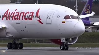 1st Avianca Boeing 787 Dreamliner Crosswind Test Flight Takeoff & Landing