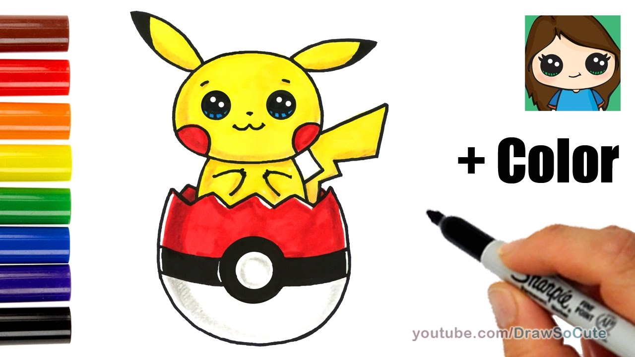 How to draw pikachu in pokeball easter egg with coloring