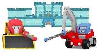 Die Ritterburg - Lerne mit den kleinen Trucks | Planierraupe, Bagger, Educational cartoon für Kinder