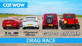 BMW X4M v AMG G63 v Cayenne Turbo v Bowler Bulldog V8 - DRAG RACE, ROLLING RACE & BRAKE TEST