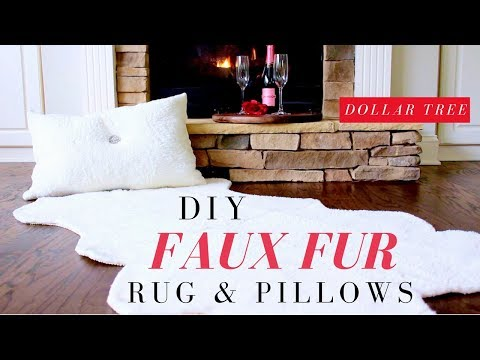 DOLLAR TREE DIY FAUX FUR RUG & PILLOWS | DIY FAUX FUR RUG TUTORIAL