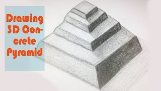 How to Draw a 3D Concrete Pyramid - Drawing time video for beginners
