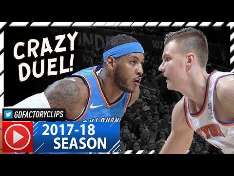 Carmelo Anthony vs  Kristaps Porzingis 1st Duel Highlights (2017.10.19) Knicks vs Thunder - MUST SEE
