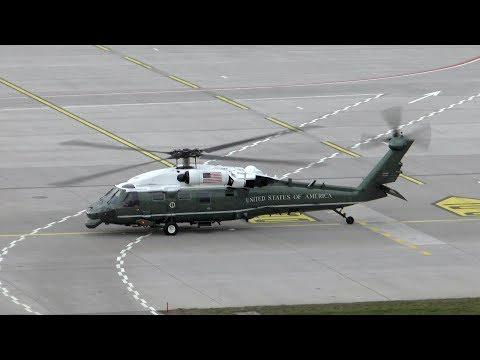 U.S. President Donald Trump helicopter escort at Zurich Airport - Marine One