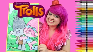 Coloring Branch & Poppy Trolls GIANT Coloring Book Crayola Crayons | COLORING WITH KiMMi THE CLOWN