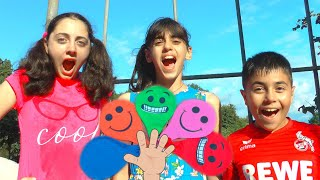 Guka Nastya and Maria pretend playing with Smile Water Balloons and singing Colors Songs