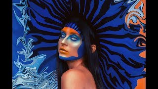 High Fashion Blue and Orange Makeup | Creative Beauty Editorial Photoshoot | Behind the Scenes
