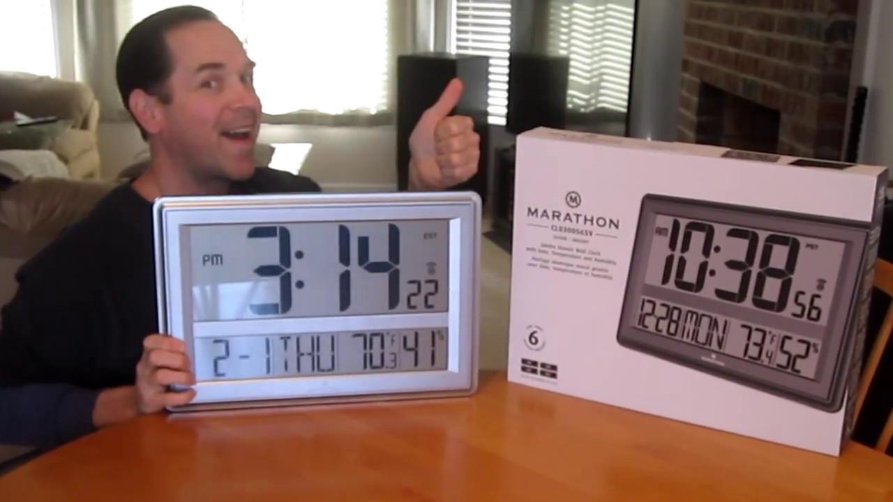65 Jumbo Lcd Clock By Marathon Large Size Cl030056sv Wall