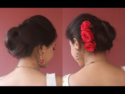 how-to-attach-rose-flowers|easy-&-quick-bun/juda-for-festive/weddings|step-by-step|asmita