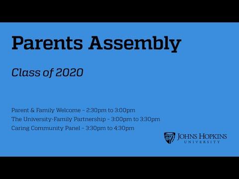 Parents Assembly at Johns Hopkins University, Shriver Hall, Aug 27, 2016
