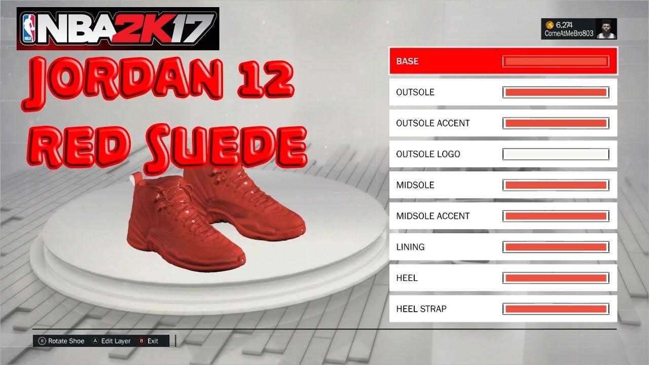 Nba 2k17 Shoe Creator Jordan 12 Red Suede Xbox One Ps4 Youtube Heels Wanita 274