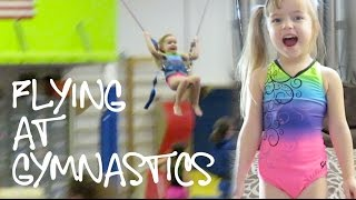 Flying at Gymnastics in Her New Rainbow Bratayley Leotard