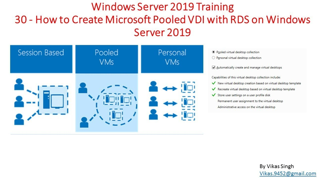 Windows Server 2019 Training 30 - How to Create Microsoft Pooled VDI with  RDS on Windows Server 2019