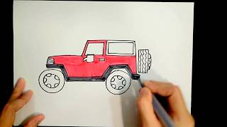 How to draw a jeep【Ginger