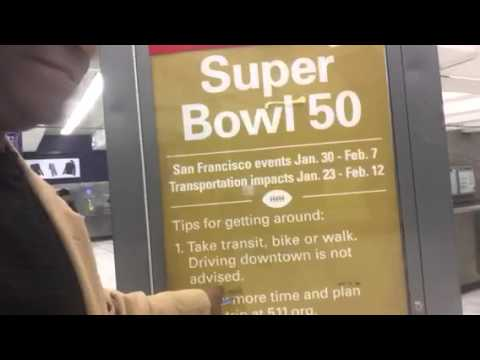 BART Ready For Super Bowl 50 SF: Signs At Civic Center #SB50