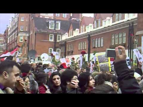 London Protests Outside The Egyptian Embassy And 10, Downing Street