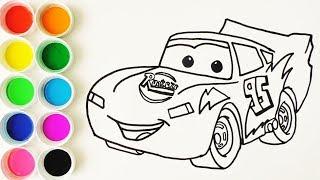 Cómo Dibujar y Colorear  a Rayo de los Cars 3 Disney - Dibujos Para Niños - Learn Colors / FunKeep