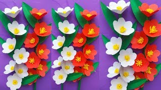 How to make a paper stick flowers | paper rose, flower making | paper crafts for kids