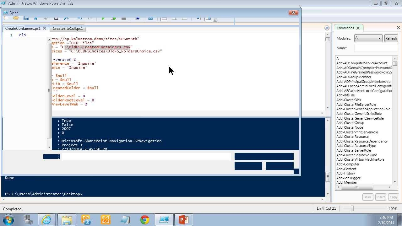 Use PowerShell scripts to create SharePoint containers and