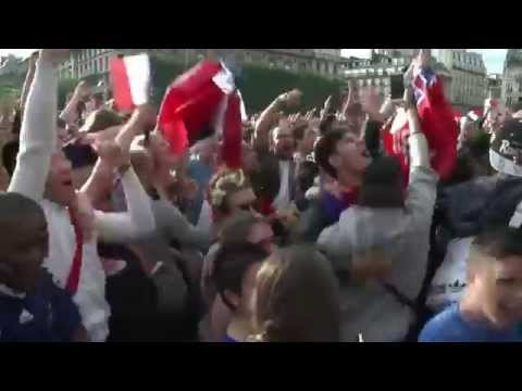 Fans celebrate France's victory over Nigeria
