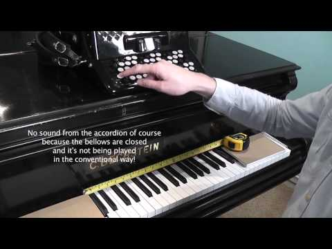 Chromatic Button Accordion (B System) note layout versus Piano Keyboard