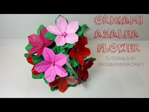 How To Make Origami  AZALEA FLOWER and DIY STEM 🌸Tutorial By OrigamiPaperCraft