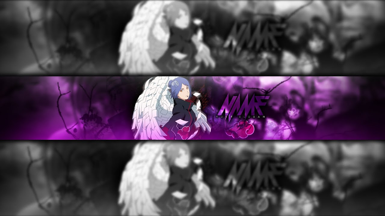300x120 anime wallpapers ultrawide monitor desktop backgrounds hd pictures and images. Speedart Anime Youtube Banner Template Naruto Konan Banner Gimp Youtube