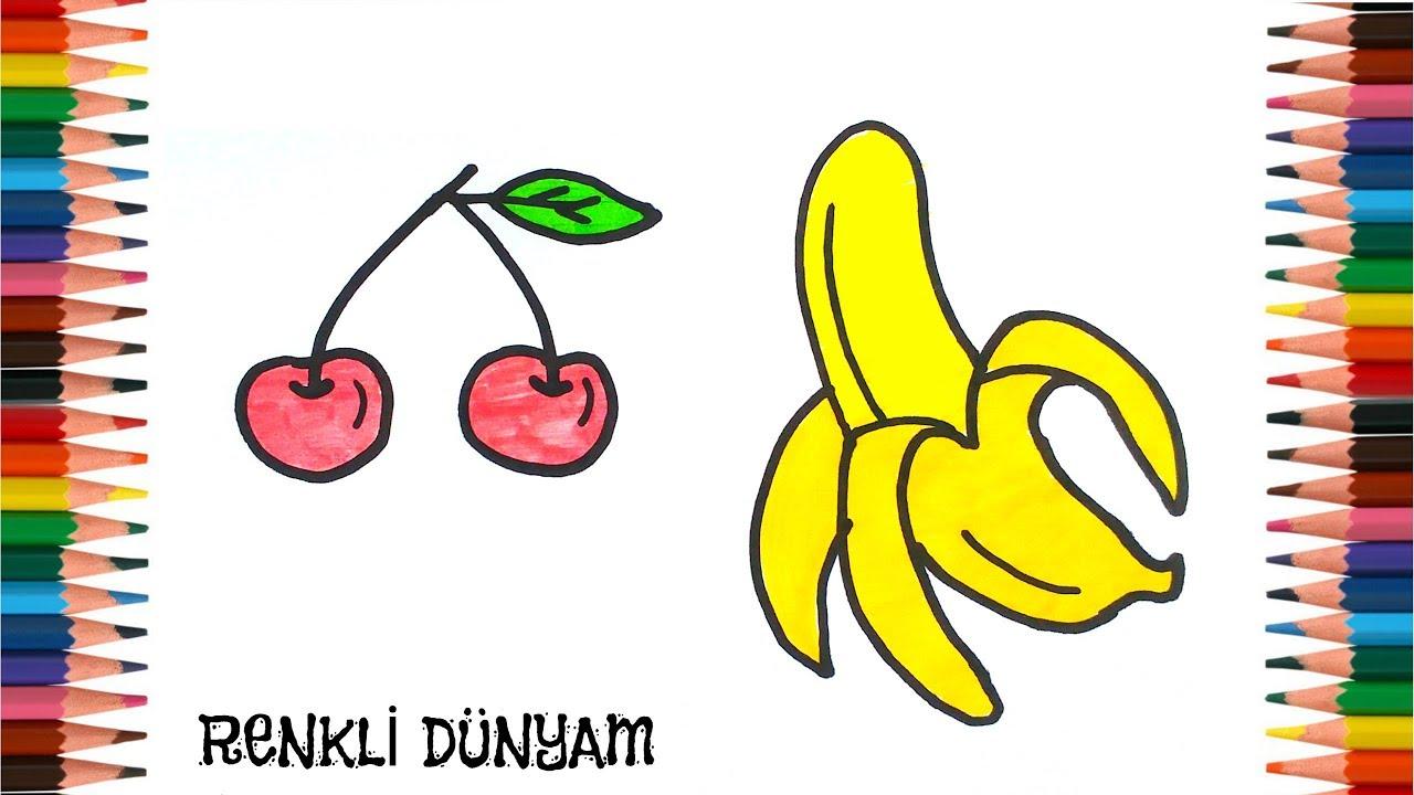 Meyve Nasil Cizilir Kiraz Ve Muz Cizimi How To Draw Fruit