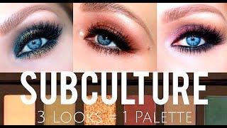 SUBCULTURE   3 LOOKS & SWATCHES   ABH SUBCULTURE PALETTE TUTORIAL