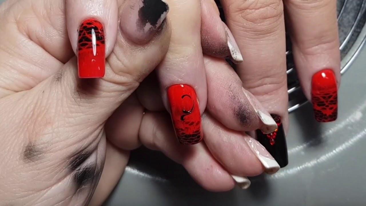 Скоростной дизайн аэрографом на ногтях. Дизайн ногтей.