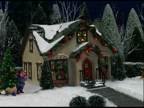 Christmas Houses Village.Department 56 Christmas Lane House With Dancing Lights Video