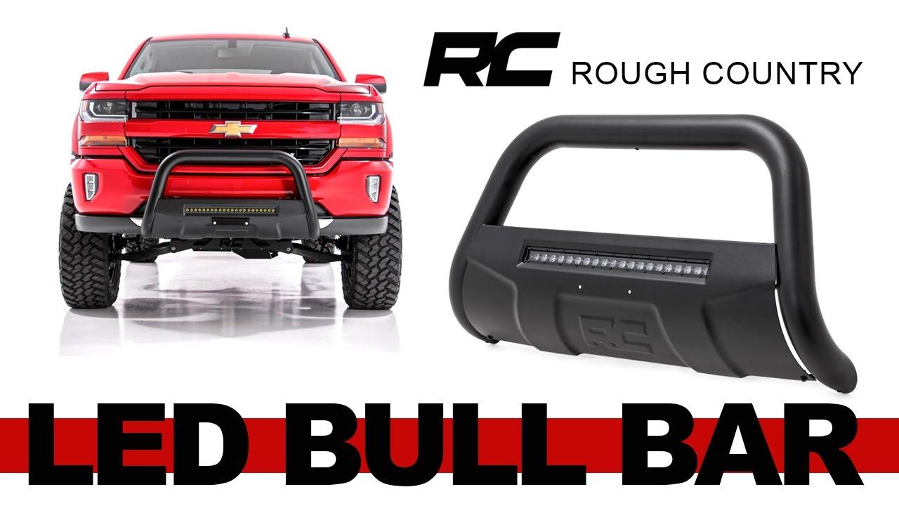 Rough Country Black Bull Bar with LED Light Bar for the Silverado, Sierra,  Tahoe, Yukon, Suburban, Avalanche