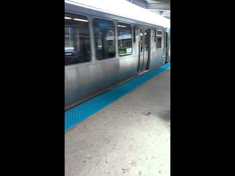 """CTA Blue Line Train to Forest Park departs from Illinois Medical District """"L"""" Station"""