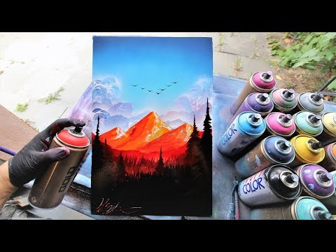 Flaming Mountains - SPRAY PAINT ART by Skech