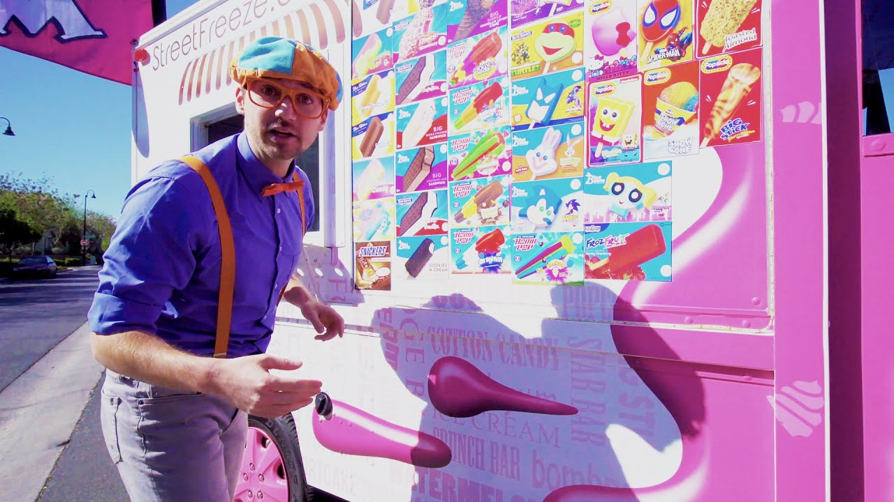 Blippi Visita un Camión de Helados   Blippi Españo   Aprende Colores y Objetos