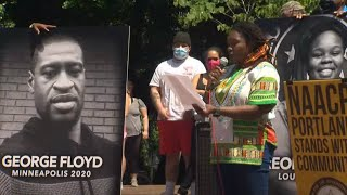 Portland NAACP leads news conference, demonstration in downtown Portland