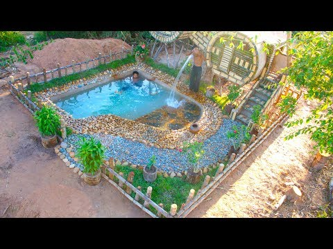 Build Beautiful Swimming Pool And Two House Using Wooden Brick And bamboo