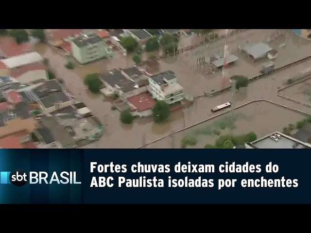 Fortes chuvas deixam cidades do ABC Paulista isoladas por enchentes | SBT Brasil (11/03/19)