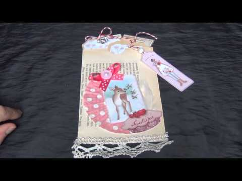 Junk journal 2019 idea diy paper gift bag  with shabby chic tags