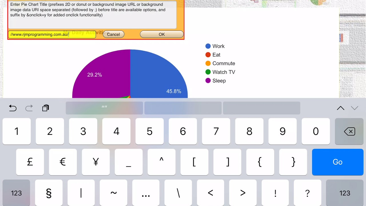 Background Image via Google Chart Pie Chart Interface Application