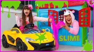 Loja de Slime da Laurinha e como fazer slime - Drive Thru Slime for kids and how to make slime