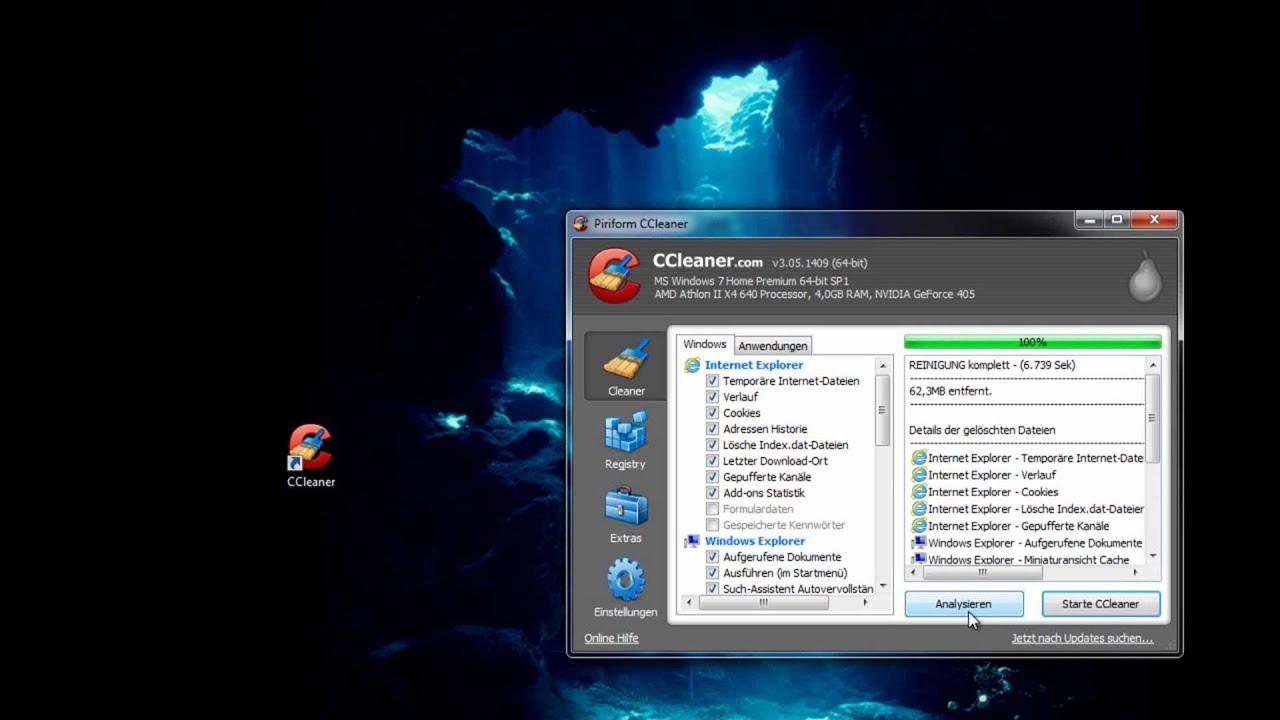 Windows gründlich reinigen mit CCLeaner German Deutsch HD