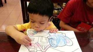 2 1/2 year old Toddler Colouring with Crayons