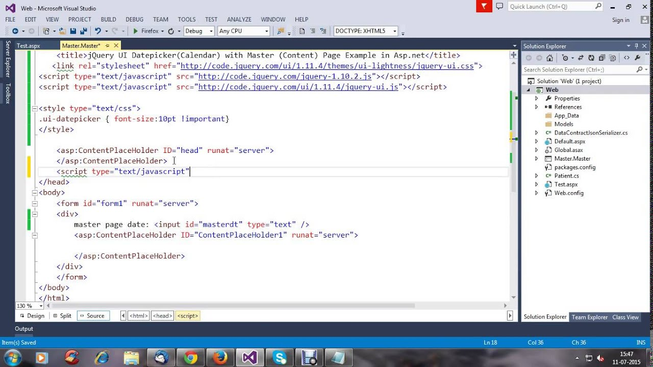 jQuery UI DatepickerCalendar Using in Master and Content Page Example in  Aspnet