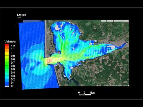 Simulation of currents at Grays Harbor, WA in September of 1999
