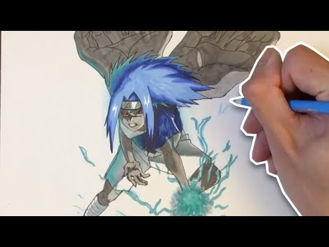 Naruto: Drawing Sasuke Curse Mark Level 2 (うちはサスケ) - YouTube