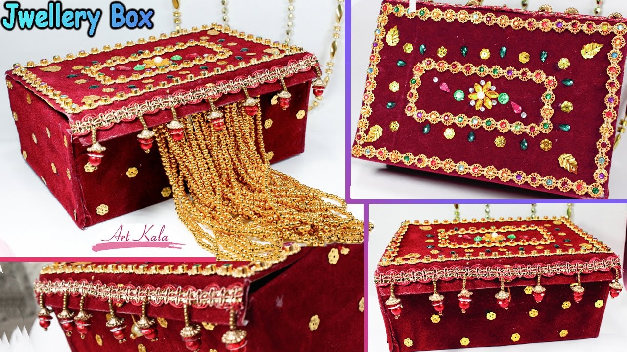 How to make jewelry box at home with waste material diy for Waste materials at home